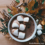 Photo of a mug of hot chocolate topped with big marshmallows surrounded by fall leaves on Good Things: Family Recipes on Not So Mommy... Blog