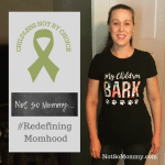 """Photo of Brandi Lytle, founder and owner of Not So Mommy... wearning her """"My Children Bark"""" t-shirt"""