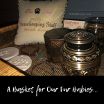 Photo of the basket in our black piece which holds special memories of our fur babies on Not So Mommy..., a childless blog
