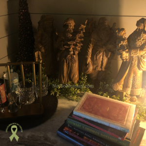 """Photo of our remodeled bar area decorated for Christmas on """"Redefining Home, Redefining Christmas"""" on Not So Mommy..., an infertilitiy & childless blog"""