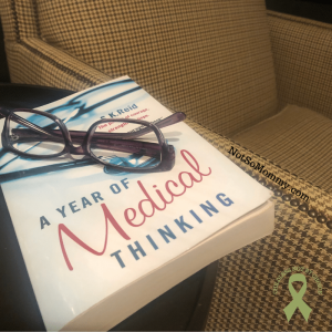 "Photo of ""A Year of Medical Thinking"" sitting on side table, purple glasses on top of book, next to reading chair on Not So Mommy..., an infertility & childless blog"