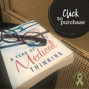 """Photo of """"A Year of Medical Thinking"""" sitting on side table, purple glasses on top of book, next to reading chair on Not So Mommy..., an infertility & childless blog"""