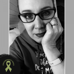 Black & White Photo of Brandi Lytle, founder of Not So Mommy... and creator of the olive green Childless Not By Choice Awareness Ribbon