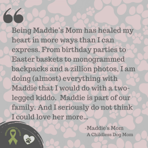 """Photo of quote from """"Our 'Pet Parent Life' Stories: Maddie's Mom,"""" on Not So Mommy..., a childless dog mom blog"""