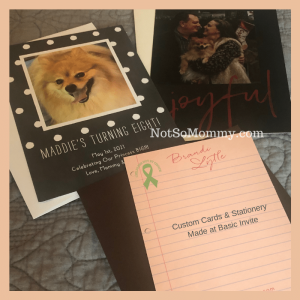 Photo of custom cards and stationery created at Basic Invite on Graduations, Birthdays, Special Occasions: From the perspective of a childless woman on Not So Mommy..., a childless blog