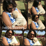 Photo of Lucy's Dog Mom cuddling with her on Not So Mommy..., a childless dog mom blog